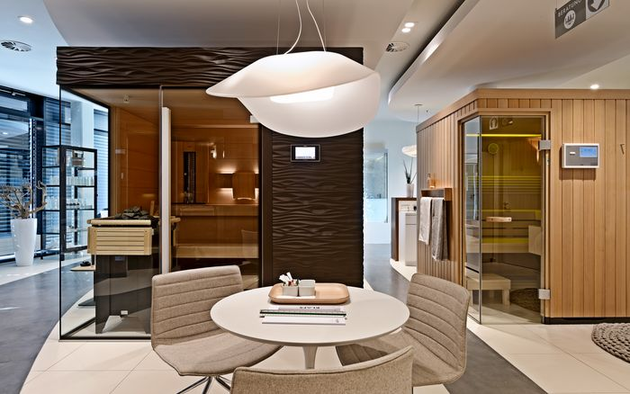 Sauna en Wellness, showroom Stuttgart: Saunaruimte